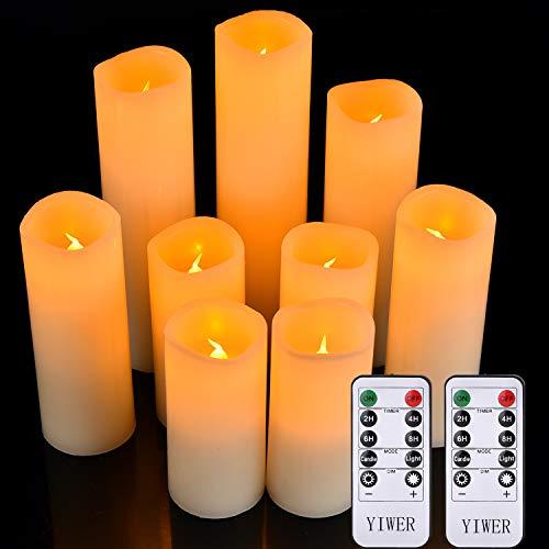 YIWER Set di 9 Candele a LED, Φ2.2in x H4''5''6''7''8''9'' Vera Cera Non plastica pilastri 10-Key Telecomando con 2/4/6/8-hours Funzione Timer, 300 Hours (9X1, Avorio)