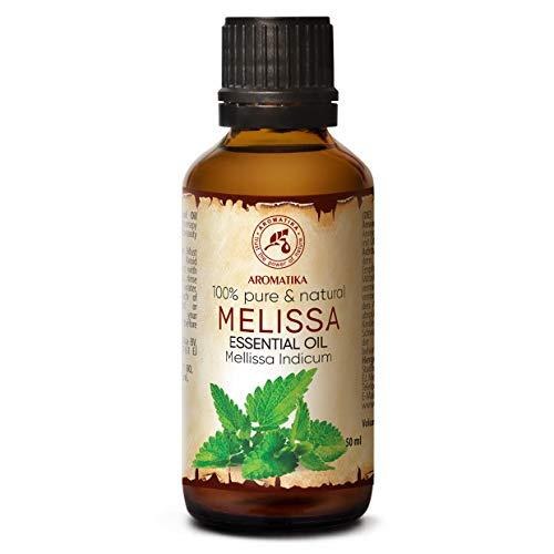Oli di melissa 50 ml - Melissa Indicum - India - 100% puro e naturale Melissa miglior olio per aromaterapia - Aroma Bath - Diffusore - Home Fragrance - Olio Melissa di Aromatika