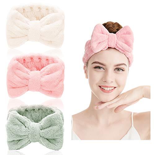 Fascia per spa - 2 pezzi capelli in microfibra per trucco fascia elastica per capelli Fascia per Capelli per doccia, trucco, corsa, yoga, pulizia del viso (Colore E)