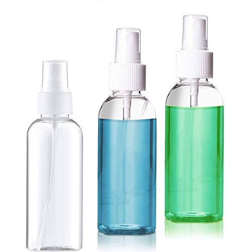 3 Pezzi 50ml Flaconi spray, Bottiglie Spray da Trasparente Bomboletta Spray per Nebulizzazione Vuota Atomizzatore da Viaggio Flacone in Plastica Bottiglie Spray per di Trucco Acqua Alcool