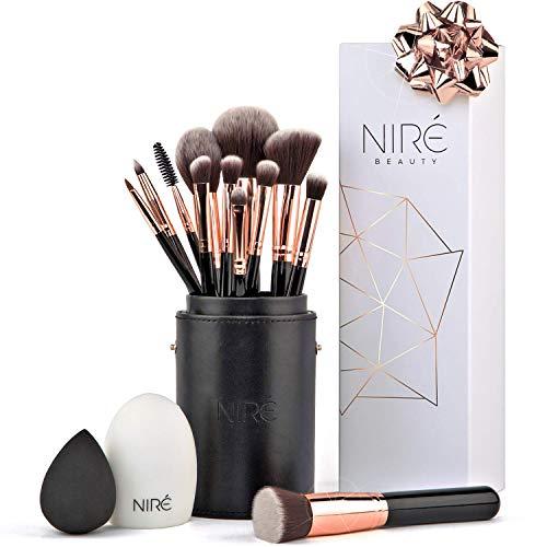 Niré Beauty Artistry Set: Pennelli Make up Vegani con Niré Beauty Blender, Porta Pennelli Make up e Pulitore Pennelli Trucco