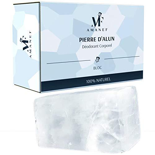 Deodorante in pietra di allume 100% naturale – 1 blocco da 100 g, senza cloridrato di alluminio e parabeni, neutralizza la traspirazione senza intasare i pori.