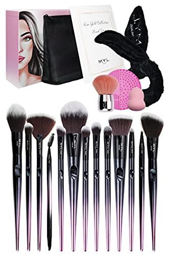 M.Y.L. Set 18pcs Pennelli Make Up Professionali, Fascia Capelli, Beauty Blender, Pulitore, Pochette
