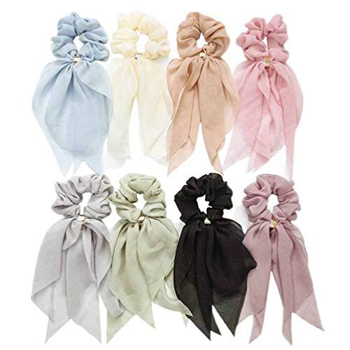 Lurrose 8 pezzi di capelli scrunchies nodi di capelli di raso fasce per capelli elastici sciarpe di capelli titolari di coda di cavallo cravatte scrunchy per le donne ragazze