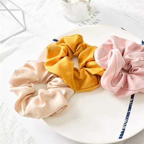 Lurrose 5 pezzi di colore solido panno elastico per capelli scrunchy morbido cotone scrunchies fasce per capelli colorati per le donne ragazze (giallo, verde, nero, rosa, kaki)