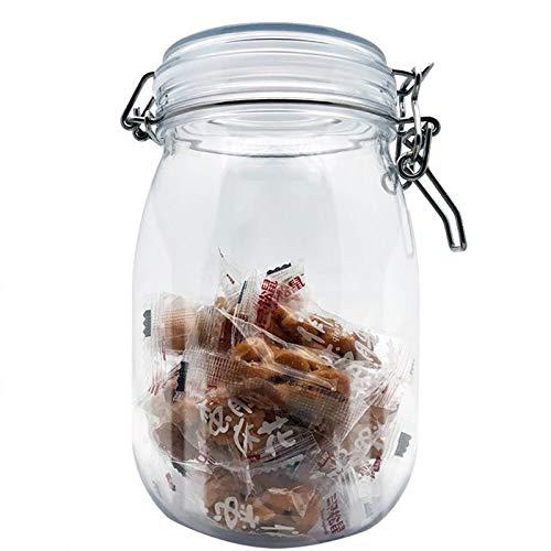 Vasi di stoccaggio 1PC 1650ML plastica Ovale Clip Jar Top Bagagli con Airtight Guarnizione del Coperchio del Contenitore di alimento Preservare Kitchen Spice Organizer Barattoli