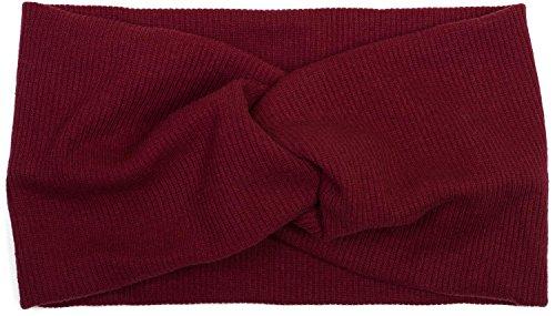 styleBREAKER fascia per capelli a coste sottili con nodo, fascia per capelli, da donna 04026009, colore:Bordò-Rosso