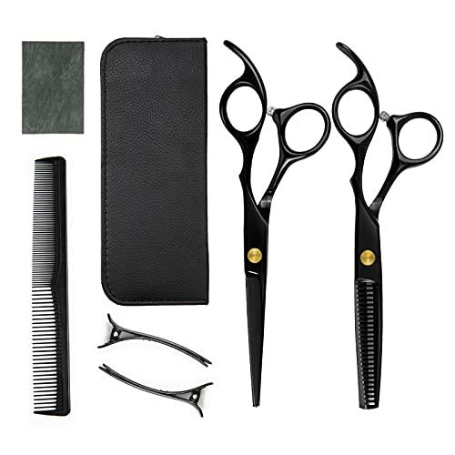Rairsky 7 Set da Forbici Parrucchiere Professionali, Forbici Sfoltire Capelli en Acciaio Inossidabile, Pettine e Clip per Barbiere e Domestico