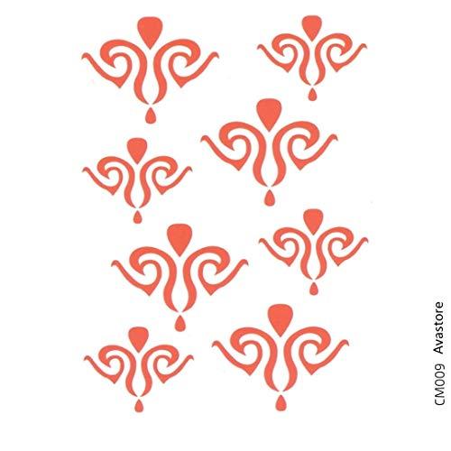 Avastore - Set di 2 tatuaggi temporanei da donna, con giglio, minimalisti, stile minimalista, colore: rosso