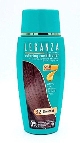 Leganza colorare condizionatore a colori 32 Castagna con 7 oli naturali ammoniaca e Paraben Free