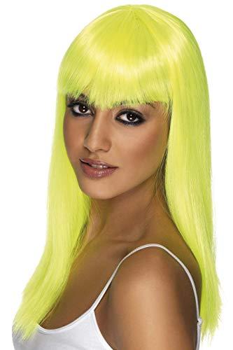 SMIFFYS Smiffy's Parrucca Glamour, Fosforescente, Lunga, Liscia con frangetta Capo d'Abbigliamento, Giallo (Jaune), Taglia unica Donna