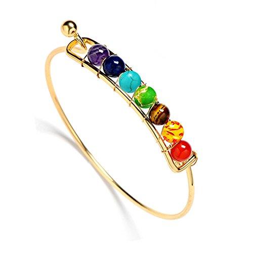 AIUIN, braccialetto dei 7chakra con perline preziose d'agata, può essere usato durante lo yoga per aumentare l'energia, con confezione e placcato_argento, colore: Gold, cod. VN202360