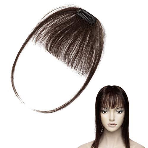 Elailite Frangia Clip Capelli Veri Extension Frangetta Sottile 100% Remy Human Hair Lisci Hair Bang Fringe Naturale #2 Marrone Scuro