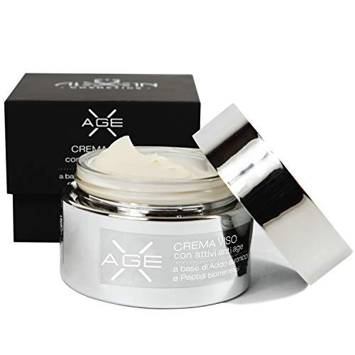 Aléxein X AGE Crema Viso Antirughe Donna e Uomo con Acido Ialuronico, Bava di Lumaca e Peptidi, Produzione Made In Italy (50ml)