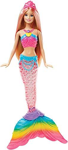 Barbie Sirena Arcobaleno con Capelli Biondi, Luci Colorate, Si Attiva Sott'Acqua,DHC40