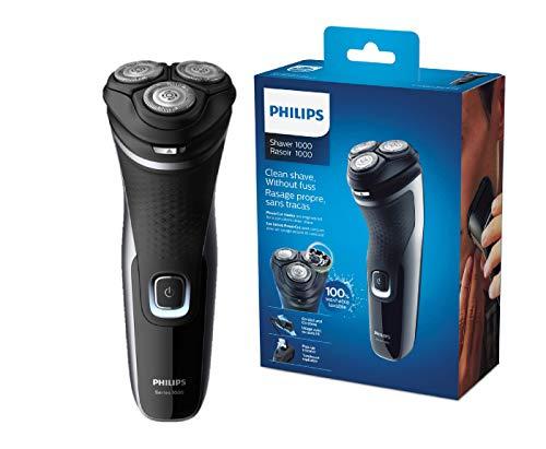 Philips S1332/41 Rasoio Series 1000, Testine Flex 4D, Lame PowerCut, Apertura OneTouch, Uso Cordless e Corded, 45 minuti di autonomia,Indicatore batteria 1 livello, Rifinitore a scomparsa, Nero lucido