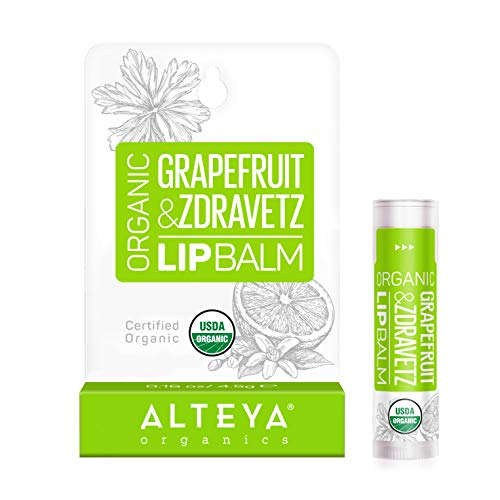 Alteya Organic Balsamo Labbra con Olio di Pompelmo e Geranio 5 ml – USDA certificata organica naturale cura labbra, basata su di oli essenziali idratanti e burri nutrienti botanici.