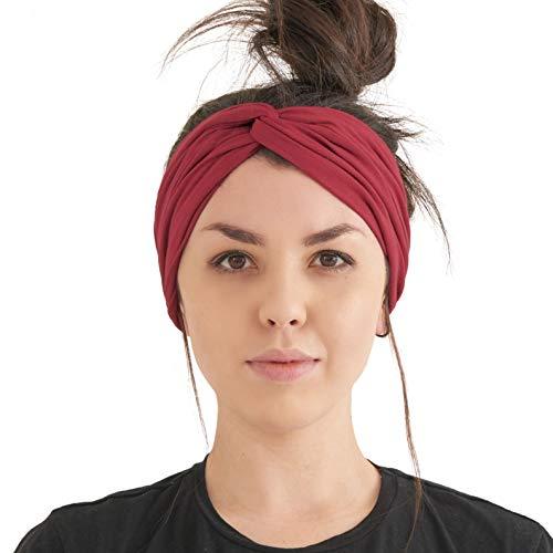 Charm Boho Estate Fascia Capelli de Donna - Fasce Turban Yoga Turbante Headwrap Bandana Accessori Borgogna