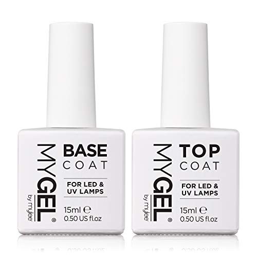 Mygel by Mylee Top & Base Coat per smalto gel semi-permanente 2 x 15 ml UV/LED soak off nail art manicure pedicure per uso professionale e domestico