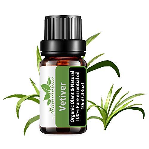 Olio essenziale di vetiver biologico -Oli essenziali di vetiver Olio profumato al vetiver puro Mumianhua 10ml Oli aromatici al vetiver biologico per diffusore, profumi, candele, sapone, pelle