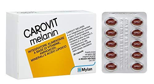 Carovit Melanin Integratore Alimentare a Base di Melanina e Vitamina C ed E, 20 Compresse, 30 Gr