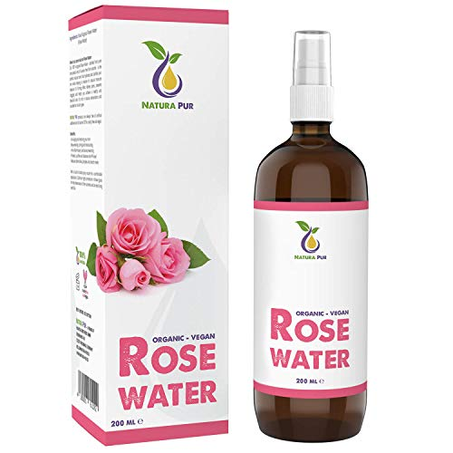 NATURA PUR Acqua di Rose Biologica 200ml - 100% naturale, pura, vegana – idratante alla rosa naturale, tonico per il viso per pelli impure, rimuove brufoli acne e anche make-up