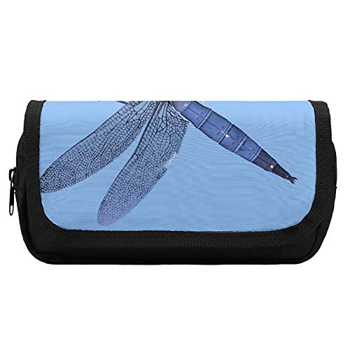 Carino grande & grande scatola di cancelleria astuccio con cerniera Art Design Libellula insetto tatuaggio blu pittura strumento scatola per ufficio woker adulti uomini donne unisex