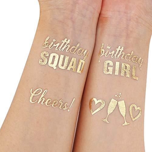 Howaf 22 Pezzi Metallico Oro finti tatuaggi temporanei neri impermeabile Tatuaggio Temporaneo Tattoo Sticker per bambini adulti Feste Compleanno Decorazioni