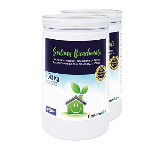 Nortembio Bicarbonato di Sodio 2x1,43 kg, Input per la Produzione Biologica, Senza Alluminio, qualità Premium,100% Naturale. E-Book Incluso.