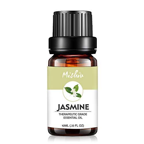 Mishiu Oli Essenziali di Gelsomino Olio Essenziale Aromaterapia Puro al 100% Unilaterale SPA, Massaggio, Bagno Profumato,10ML - Jasmine