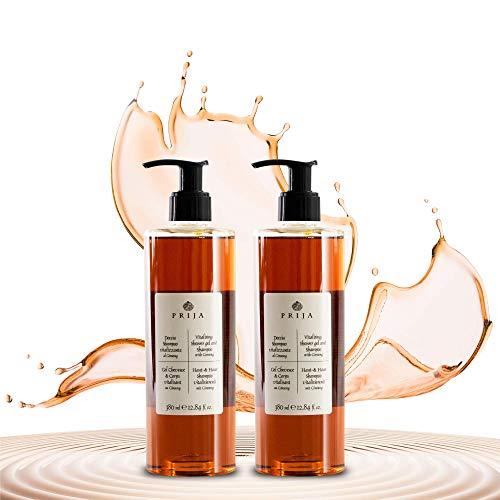 Prija, shampoo e gel doccia con ginseng con 2 pratici dosatori, 2 x 380 ml di lozione puramente vegetale per donne e uomini