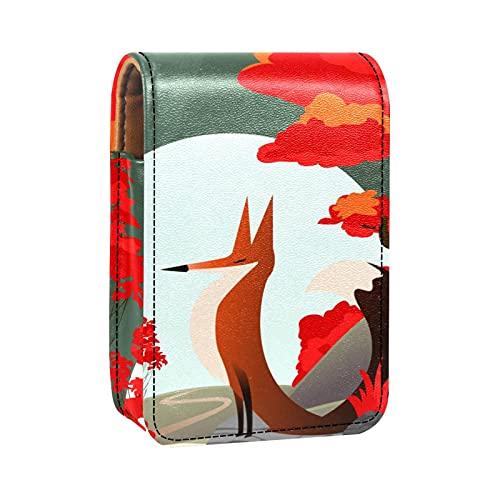 Porta rossetto Mini porta rossetto Fox Lample Light Paesaggio Borsa organizer con specchio per borsetta porta cosmetici da viaggio