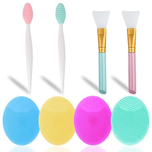 Set di 8, set di pennelli per strumenti di bellezza, SourceTon 4 spazzole esfolianti in silicone per la pulizia del viso, 2 spazzole esfolianti per le labbra in silicone e 2 spazzole in silicone
