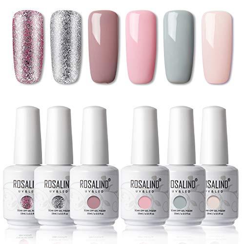 ROSALIND 15ML Smalto Semipermanente Glitter e Pastello,6pcs Set Gel Colori Unghie Nudo per Manicure Smalti Semipermanente