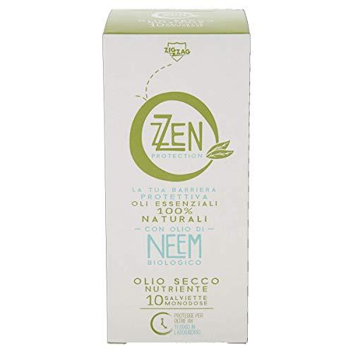 ZZEN PROTECTION Salviette Antipuntura con Oli emollienti,Olio di Neem Biologico, Marula e vitamina E, Repellente Anti zanzare, 10 Bustine Monodose.