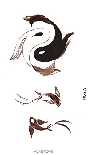Tatuaggio Temporaneo FISH Yin & Yang - Tatuaggio FISH Yin & Yang