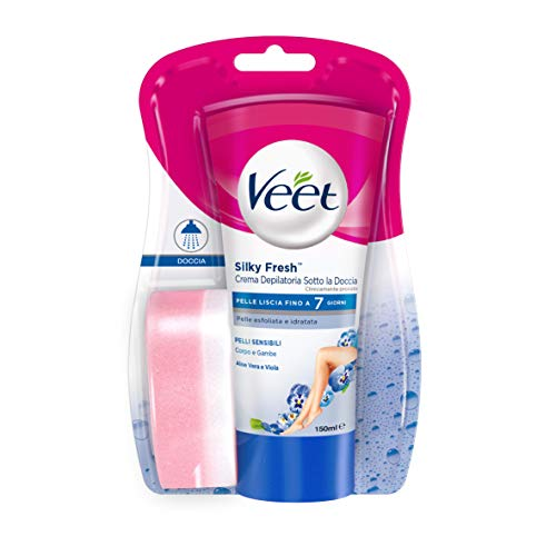 Veet Silk & Fresh Technology Crema Depilatoria Sotto la Doccia per Pelli Sensibili - 150 ml