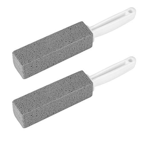 2 pezzi di pietra pomice per la pulizia della toilette con manico, rimozione della pelle morta per la cura dei piedi, rimozione dellanello del water, spazzola per la pulizia