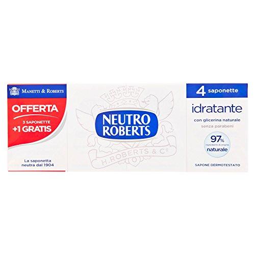 Neutro Roberts Sapone Solido Idratante con Glicerina, Saponette per le Mani con Ingredienti Naturali, Dermatologicamente Testato, Senza Parabeni, 4 Saponette da 400 ml