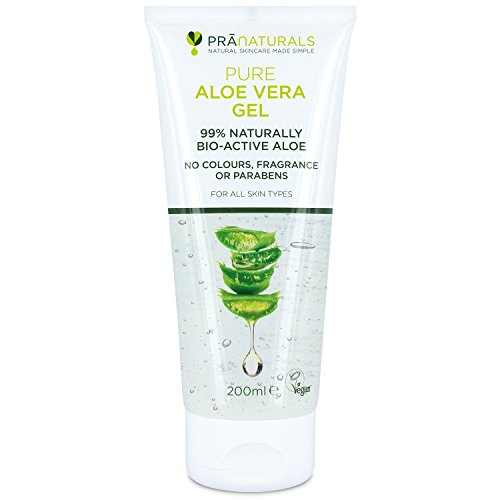 Pranaturals aloe vera gel 200 ml, gel lenitivo & idratante nutriente, idrata danneggiato pelle, assorbe facilmente non grassa o non oleoso (Pacco da 1)