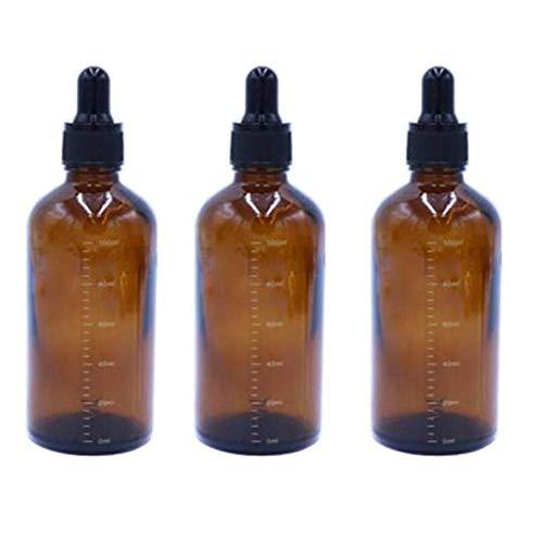3 pezzi vuoti ricaricabili in vetro ambrato graduato contagocce bottiglia olio essenziale cosmetici Elite liquido contenitore vaso titolare vasetto con pipetta in vetro contagocce (100 ml)