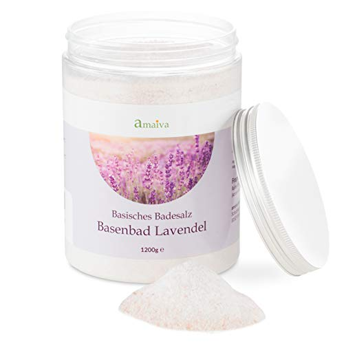 Basenbad Lavanda 1.200 g (sali da bagno basici – per la cura del corpo basica, bagni basici, pediluvio e rassodamento con un pH dell'acqua superiore a 7,5)