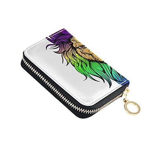 Portafoglio di carta, vettore disegnato a mano tatuaggio leone illustrazione piccola cerniera in pelle porta carte di credito porta passaporto da viaggio per uomo donna con portachiavi