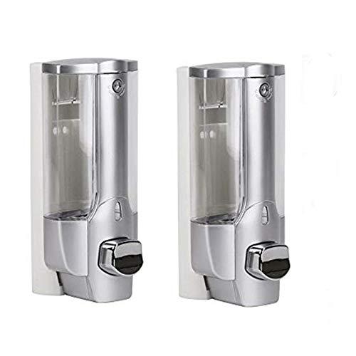 Frun - Dispenser per sapone da parete, 350 ml, per doccia, gel, shampoo, sapone, dispenser manuale, per hotel, ufficio, casa, ospedale (argento)