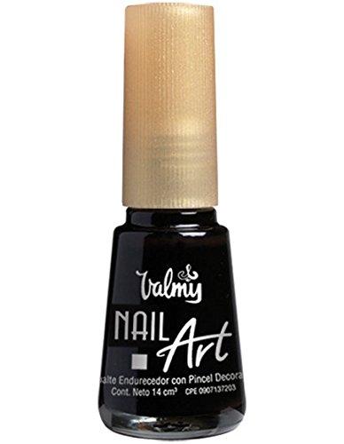 Valmy Smalto per unghie decorativo con pennello di precisione – Smalto per unghie di lunga durata per manicure francese, decorazione o disegni, con Liner super sottile e asciugatura rapida (nero)