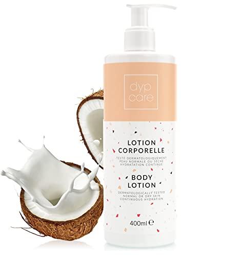 Dypcare Crema Corpo Idratante Profumata,Lozione Corpo Cocco Oil per Pelle Normale Asciutto,400ml