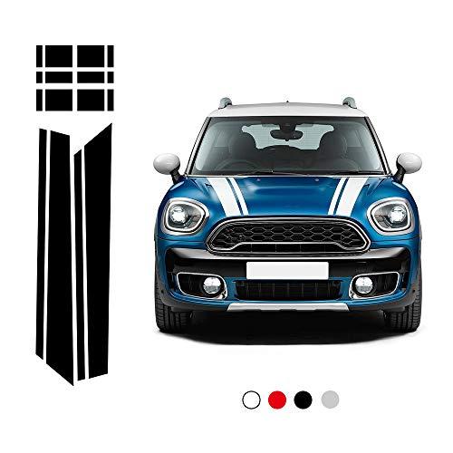 DSYCAR 1 Set Car Styling Cofano anteriore Strisce posteriori Cappuccio cofano motore Copertura Decal Adesivi per auto per BMW Mini F60 (Nero)