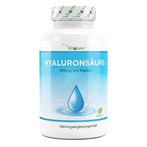 Capsule di acido ialuronico - Alto dosaggio con 500 mg - 120 capsule (4 mesi) - 500-700 kDa - Verdura da fermentazione - Test di laboratorio - Vegano