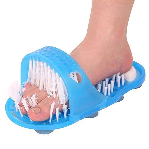 DesignerBox - Spazzola per massaggio plantare, a forma di ciabatta, con funzione di massaggio scrub, da usare dopo il bagno o la doccia, per massaggiare i piedi senza doversi piegare