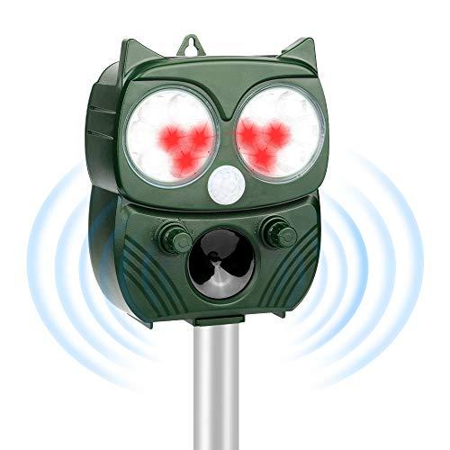 Repellente Gatti, Repellente Ultrasuoni Energia Solare Impermeabile a Fequenza Regolabile per Allontanare uccello, Gatti e Altri per Fattoria, Giardino, Prato